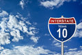 Interstate road sign of texas Stock Image