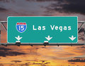 Interstate to las vegas nevada freeway with sunset dky Stock Photography