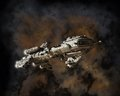 Interstellar Escort Frigate and Nebula Stock Photos