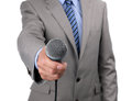 Interview with microphone businessman journalist or reporter holding a conducting an Stock Image
