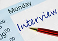 Interview note in the agenda Royalty Free Stock Photos