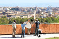 Interview passeggiata di gianicolo janiculum hills against background city rome capital italy janiculum hill was scene memorable Royalty Free Stock Image
