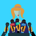 Interview, speech, leader, hands, microphones, flat design for web Royalty Free Stock Photo