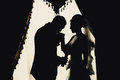 Intimate atmosphere the couple in the dark Stock Photo