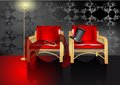 Intimate atmosphere dark room with two chairs Royalty Free Stock Photo