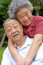 An intimate senior couple embraced Royalty Free Stock Photo