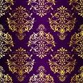Intricate Gold-on-Purple seamless sari pattern Royalty Free Stock Photo