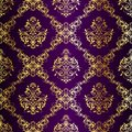 Intricate Gold-on-Purple seamless sari pattern Royalty Free Stock Images