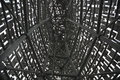 Intricate Metal Structure – Inside a metal structure looking at the steelwork Royalty Free Stock Photo