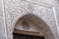 Intricate plaster work and ornate plasterwork around door arch marrakech morocco Stock Photography