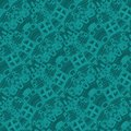 Intricate squares pattern with wavy lines dark green shades diagonally Royalty Free Stock Photo
