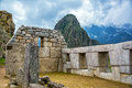 Intricate stonework at machu picchu incan peru Stock Image