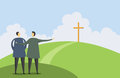 Introducing faith vector illustration of one man pointing a cross to another man Royalty Free Stock Photos