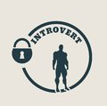 Introvert metaphor icon simple image relative to human psychology muscular man in the locked circle Stock Photography