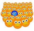 Intruder smiley in the crowd Royalty Free Stock Image