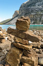 Inukshuk moraine lake banff national park alberta canada Stock Image