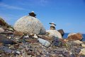 Inukshuks on rocky nova scotia canada coastline an inukshuk or inuksuk also known as an inunnguaq when it takes the form of a Stock Images