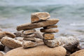 Inuksuk or Inkukshuk on the Huron lake shore Royalty Free Stock Image