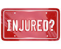 Inured license plate car accident lawyer attorney lawsuit injured question on a d red to illustrate seeking judgment against Stock Images