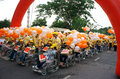 Invalid people on wheelchair at charitable activity event ho chi minh viet nam april group of in a row with young volunteer street Royalty Free Stock Photos