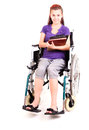 Invalid student girl on wheelchair Royalty Free Stock Photo
