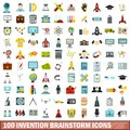 100 invention brainstorm icons set, flat style
