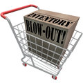 Inventory blowout words cardboard box shopping cart blow out on a in a to illustrate special discount sale or clearance event at a Royalty Free Stock Photography