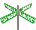 Inventory Management Logistics Supply Control 4 Way Road Signs Royalty Free Stock Photo