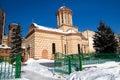 Inverno a Bucarest - vecchia chiesa della corte Immagini Stock Libere da Diritti