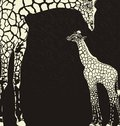 Inverse giraffe animal camouflage illustration of mother with cub on a black background Stock Images