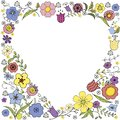 Inverse heart Doodle with colorful flowers and the inscription in vector on white background