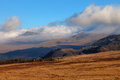 Inversion clouds hugging tops mountains snowdonia national park north wales Stock Images