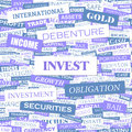Invest background concept wordcloud illustration print concept word cloud graphic collage Royalty Free Stock Image