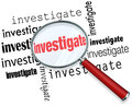 Investigate word magnifying glass close inspection facts magnfiying on the to illustrate detective or police work researching in a Stock Photography