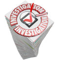 Investigation paperwork stack pile papers forms documents words on paper or document illustrating a high amount of work to Stock Image