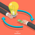 Investing into innovation flat isometric vector concept mans hands offer lightbulb and other mans hand instead of it gives bank Stock Photos