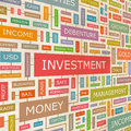 Investment concept related words in tag cloud conceptual info text graphic word collage Royalty Free Stock Image
