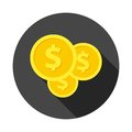 Investment icon, money vector icon with long shadow