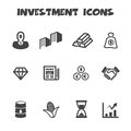 Investment icons mono vector symbols Royalty Free Stock Photo