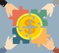 Investment money illustration. Four hands businessman folded gol
