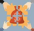 Investment money illustration. Four hands businessman folded mon