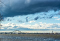 Invigorating clouds in the winter sky over delaware river colorful beautiful and gorgeous Stock Images