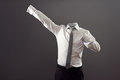 Invisible man in formal wear standing like super man against grey background Royalty Free Stock Images
