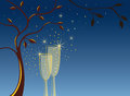 Invitation background with champagne glasses Royalty Free Stock Photos
