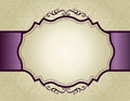 Invitation background with ornamental border elegant gold and purple damask pattern ribbon perfect as stylish wedding invitations Royalty Free Stock Image