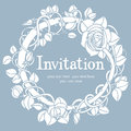 Invitation blue card round vignette of roses on a background Royalty Free Stock Image