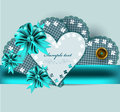 Invitation blue vintage card with bow and ribbon Stock Images