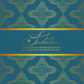 Invitation or card with antique pattern gold on a deep turquoise background Stock Photo