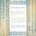 Invitation card with arabesque decor ottoman floral pattern in gold blue color Stock Images
