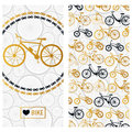 Invitation card with bike in the chain wreath and six kinds of bicycles Royalty Free Stock Photo